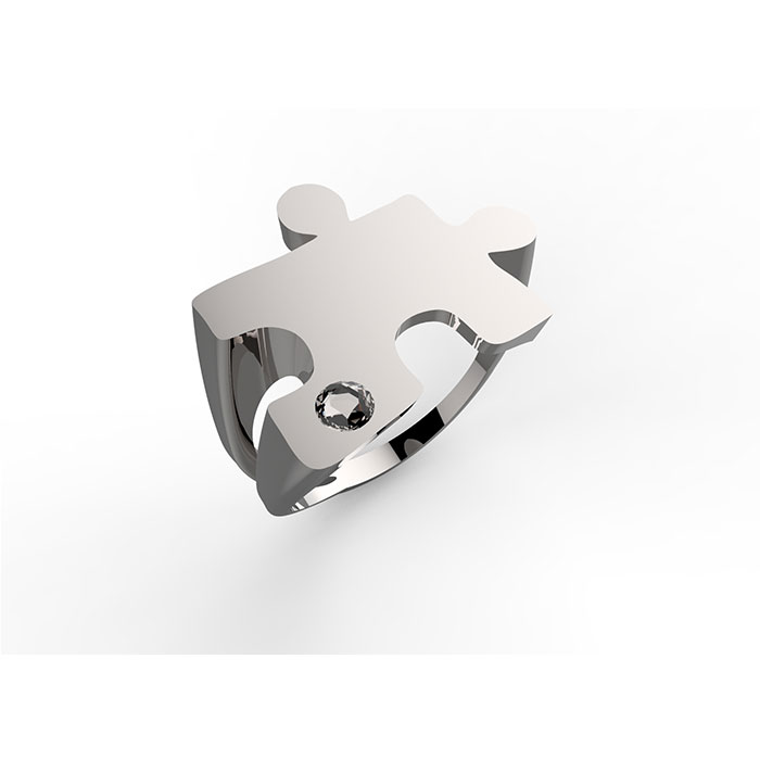 Anello in argento o oro con diamante Puzzle Ring