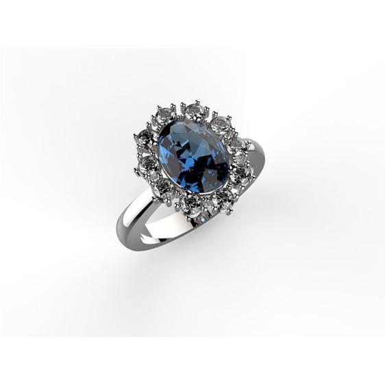 anello in oro bianco con diamanti e zaffiro blu centrale