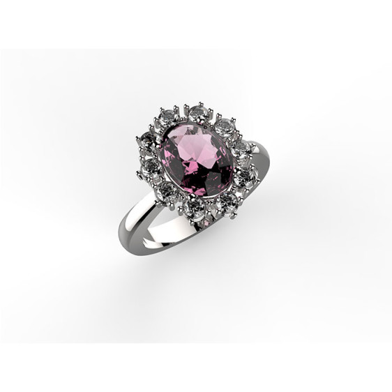 anello in oro bianco con zaffiro rosa centrale coronato da diamanti