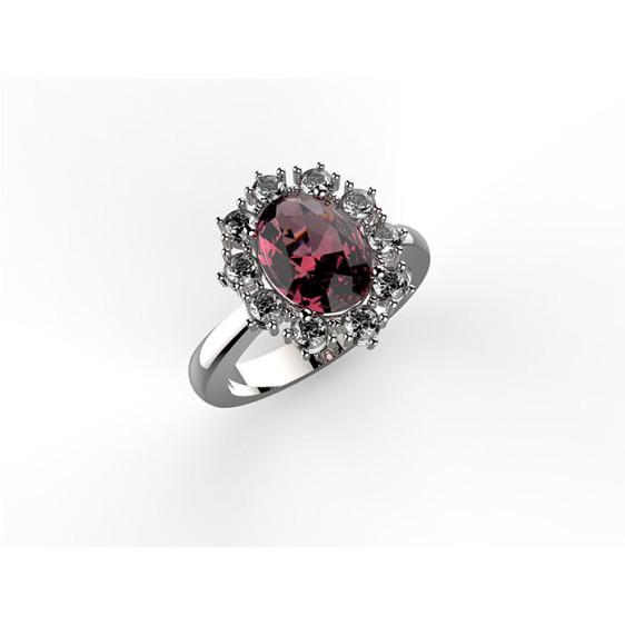 anello in oro bianco con rubino centrale e diamanti