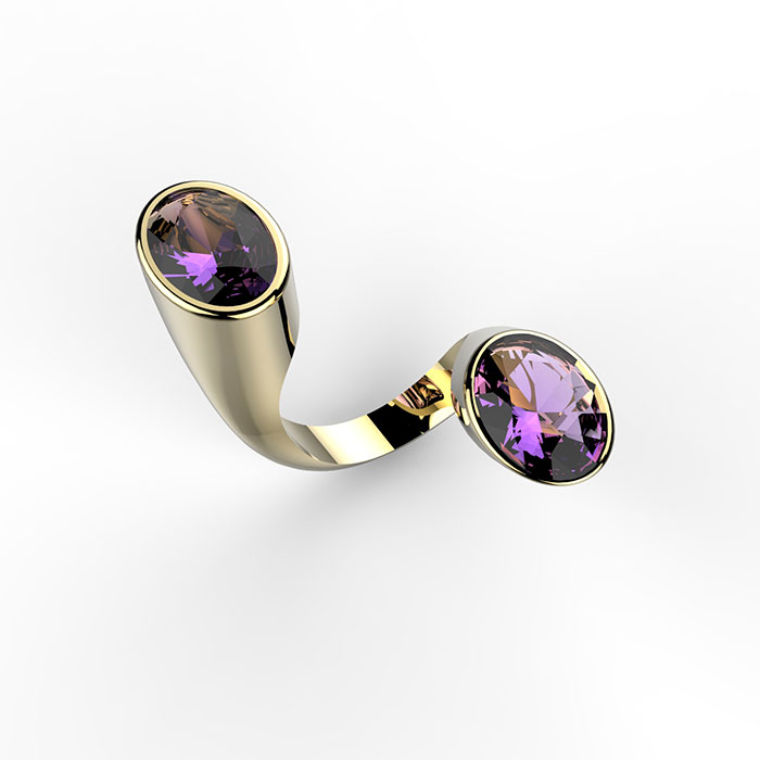 anello in oro con ametiste disponibile sullo store online e in oreficeria a roma Les Creations
