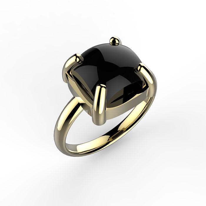 Anello in oro 18 carati e onice nera Maximo Ring