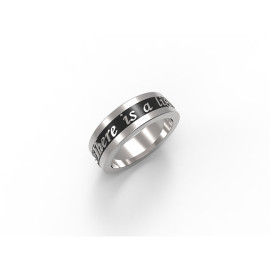 Anello in oro bianco e fascia nera con testo personalizzato Feel Ring