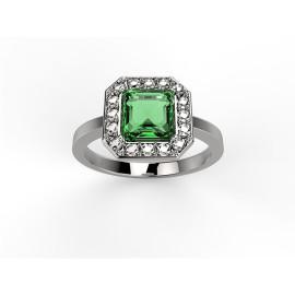 anello in platino o oro con diamanti e smeraldo