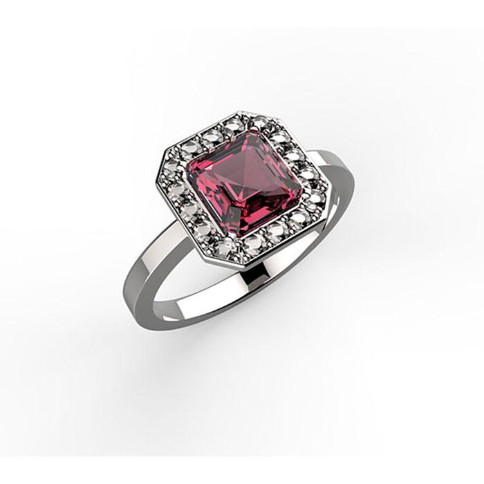 anello realizzato in platino o oro con rubino