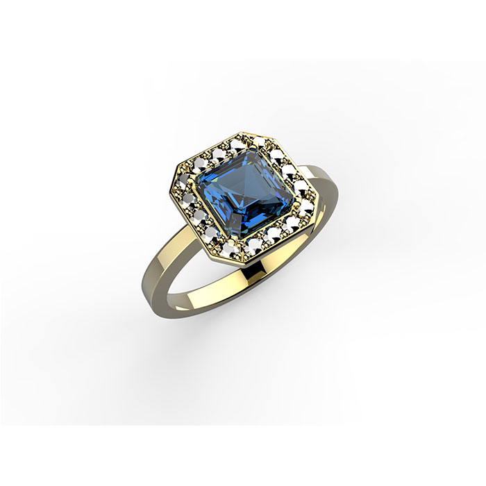 anello in oro con diamanti e zaffiro