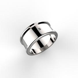 anello in oro bianco con fascia da 8mm e diamante