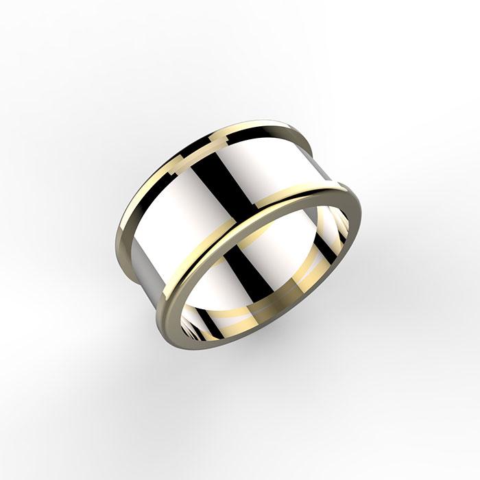 anello a fascia larga 8mm con bordi in oro giallo e interno in oro bianco