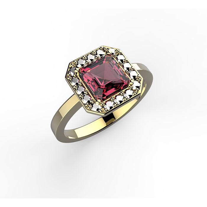 anello in oro giallo con rubino princess ring