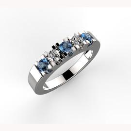 anello in platino o oro con diamanti e zaffiri