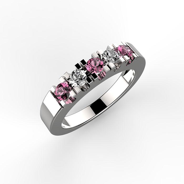 anello in platino o oro con zaffiri rosa e diamanti