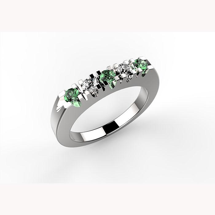 anello in platino o oro con diamanti e smeraldi