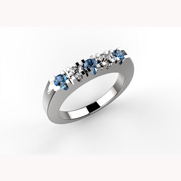 anello in platino con diamanti e zaffiri