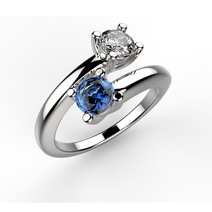 Preferenza Anello in platino o oro bianco con pietre preziose Martin Ring HB01