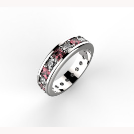 Anello in platino con diamanti e rubini Paradise Ring