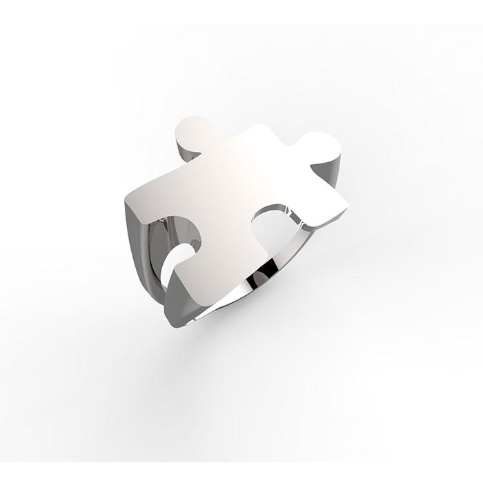 Anello in oro bianco con incisioni personalizzate Puzzle Ring