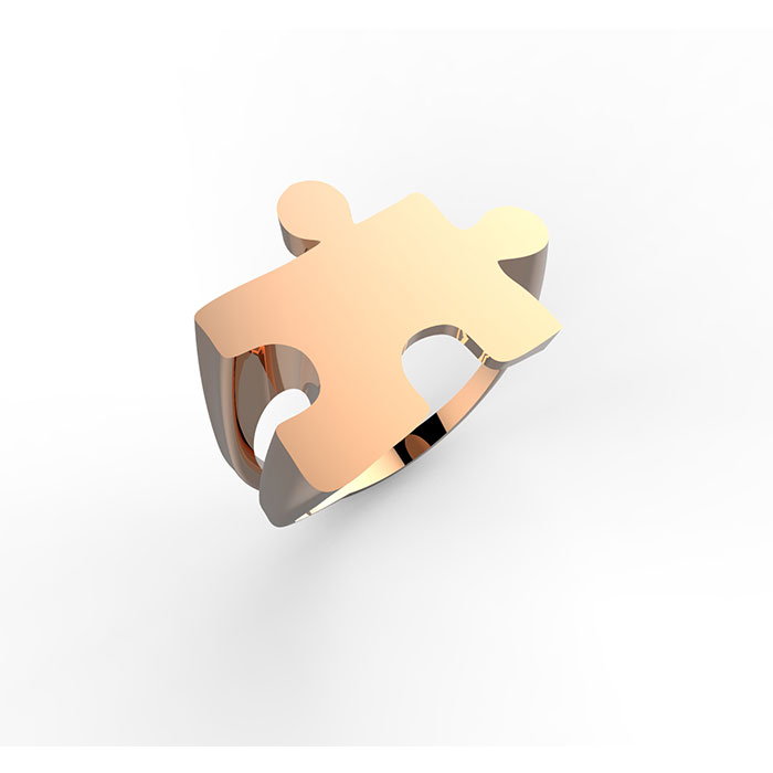 Anello personalizzabile in oro rosa Puzzle Ring
