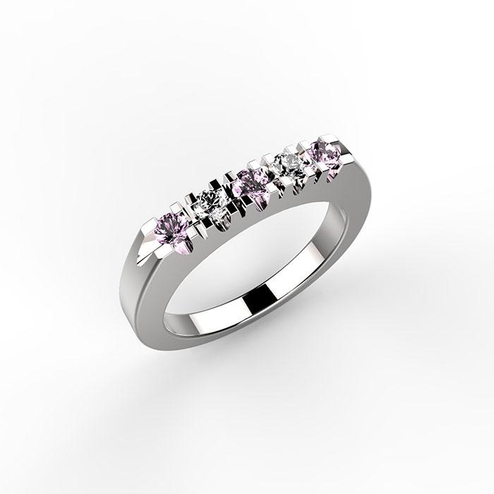 anello in platino o oro con diamanti e zaffiri rosa