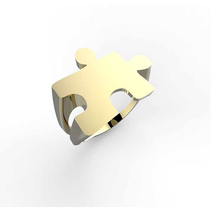 Anello in oro giallo con o senza diamante e incisioni personalizzabili Puzzle Ring