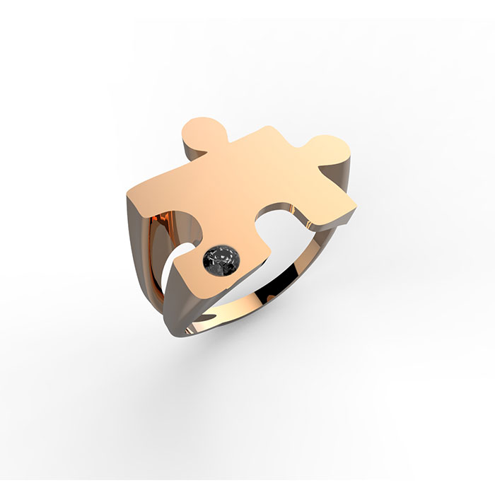 Anello in oro rosa con diamante nero Puzzle ring