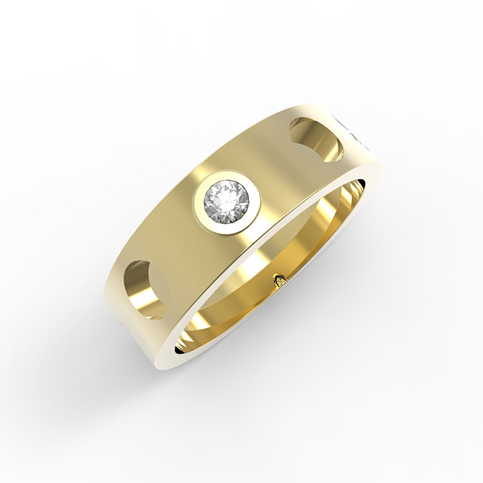 Anelli in oro con diamante Brick Ring