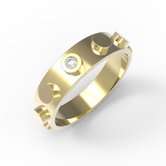 fedi nuziali in oro con diamante Brick Ring