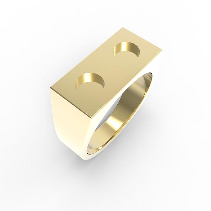 Anelli in oro rosa con diamanti Premium Brick Ring