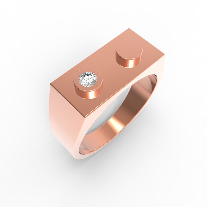 Anelli in oro rosso con diamanti Premium Brick Ring