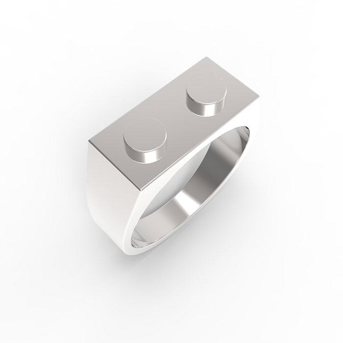 Anelli in oro bianco Premium Brick Ring