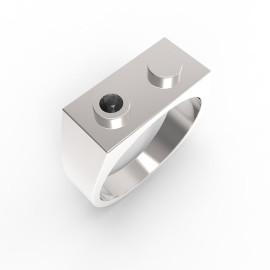 Anelli in oro bianco con diamante nero Premium Brick Ring
