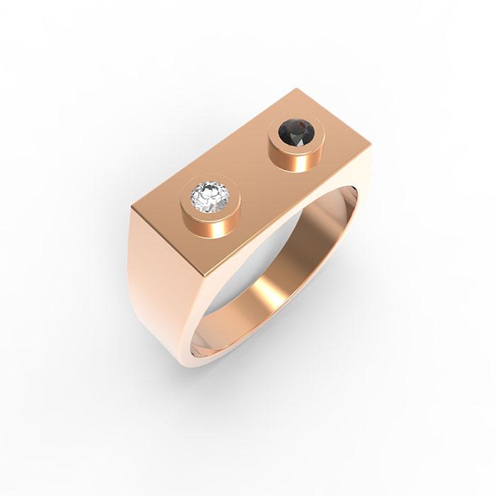 Anello in oro rosa e diamanti Premium Brick Ring