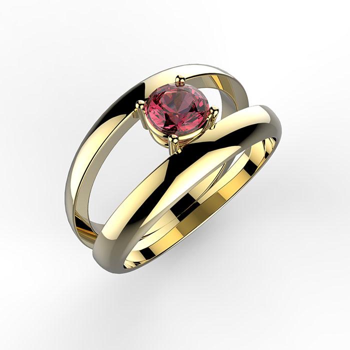 anello solitario in oro giallo Double Soul Ring bombato