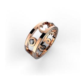 anello in oro rosa con iniziali dei failiari e diamanti