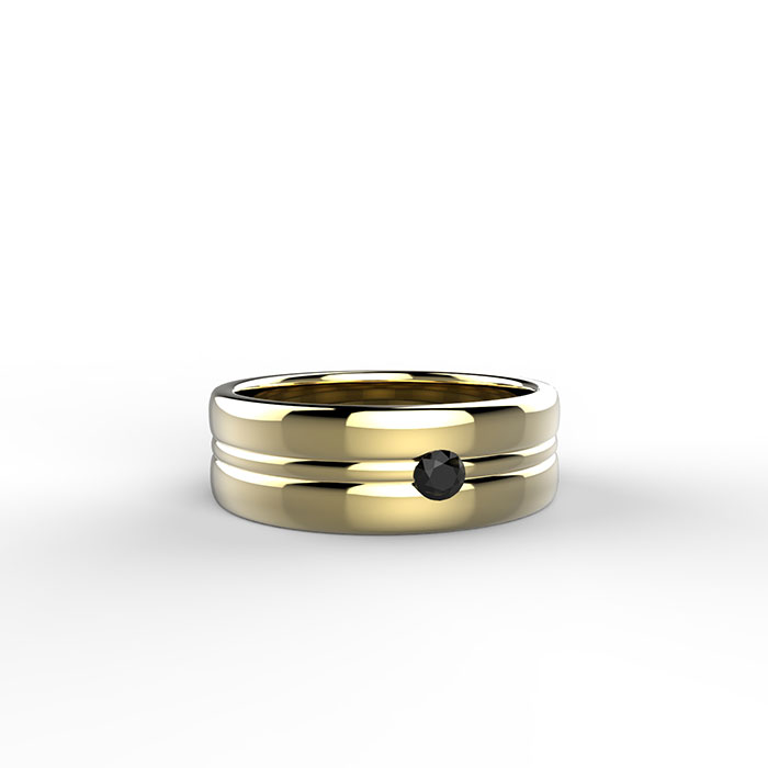 anello con diamante nero realizzato in oro giallo