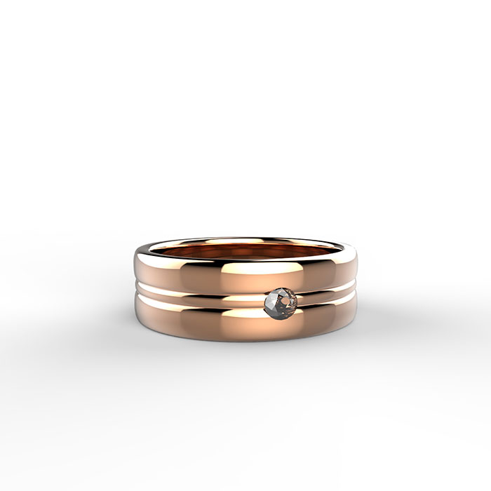 anello solitario in oro rosa con diamante bianco