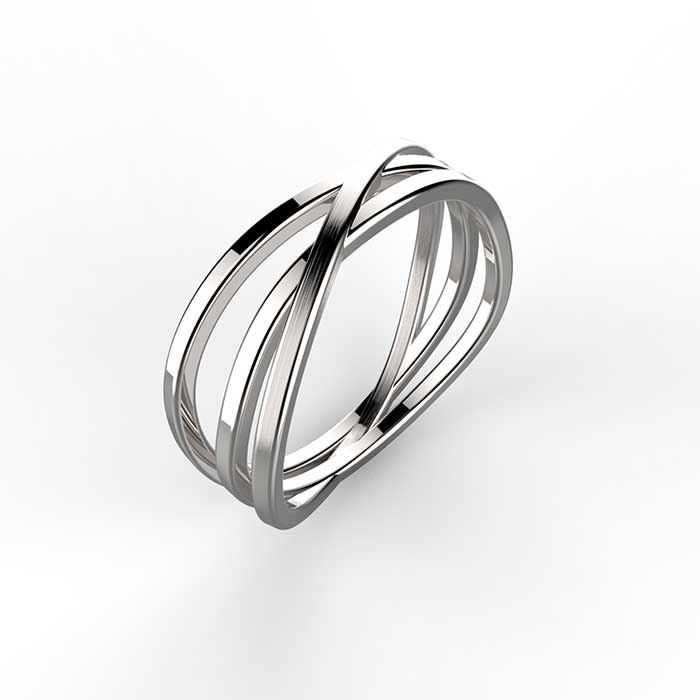 anello in oro bianco con rifinitura satinata