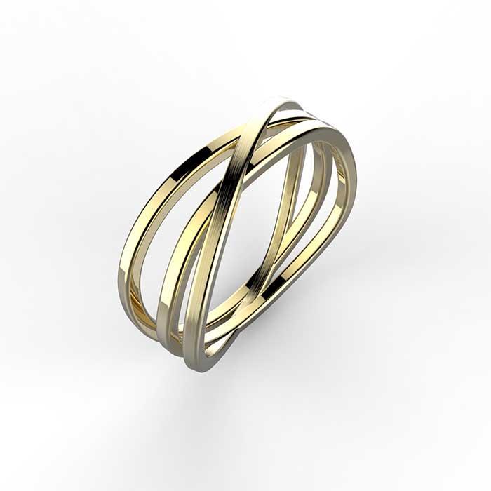 anello a 3 fasce in oro giallo satinato