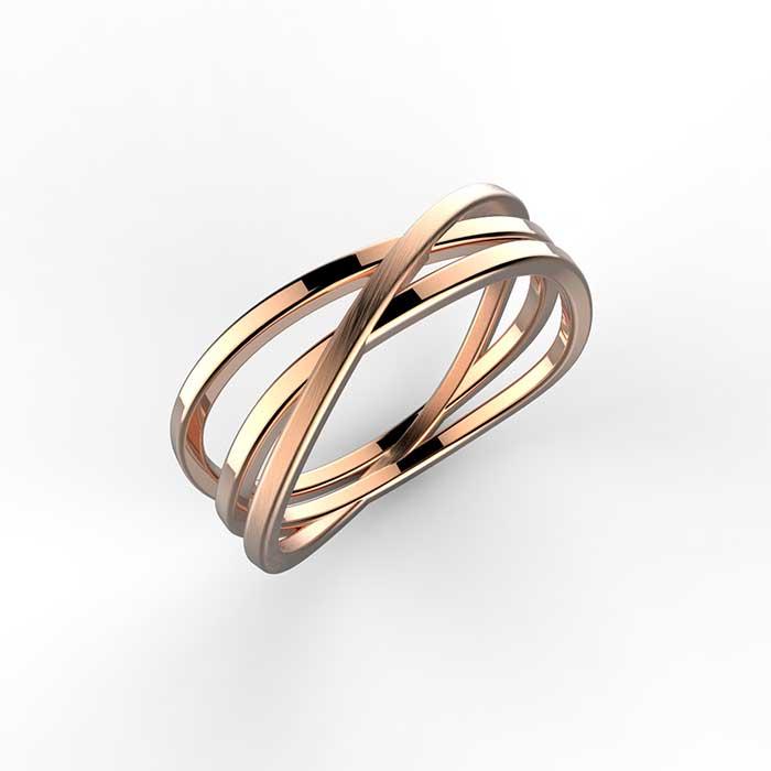anello in oro rosa satinato twist ring