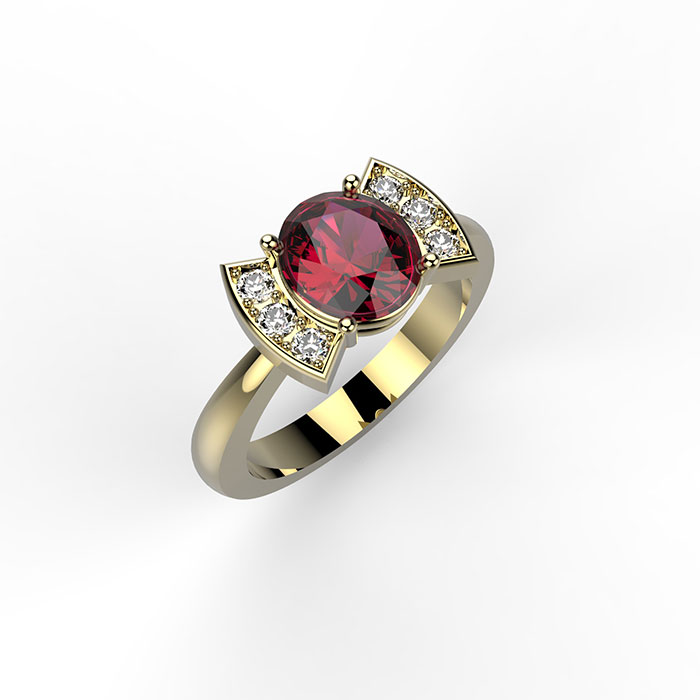 Anello in oro giallo con diamanti e rubino a fiocco Bow Ring