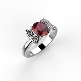 Anello in oro bianco con diamanti e rubino, personalizzabile, bow ring