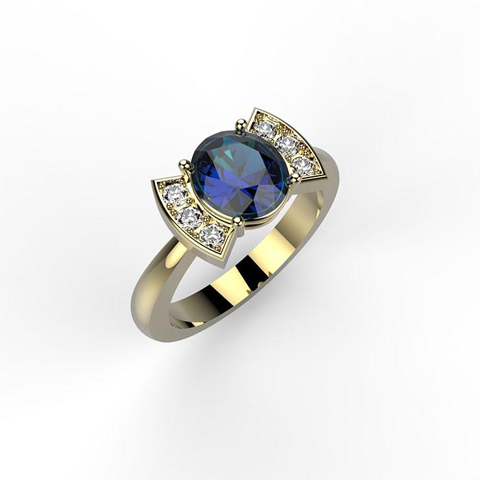 Anello in oro giallo con diamanti e zaffiro Bow Ring