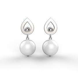 orecchini in oro bianco con diamanti e perle da 9mm
