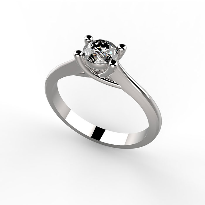 solitario in platino o oro bianco, con diamante certificato
