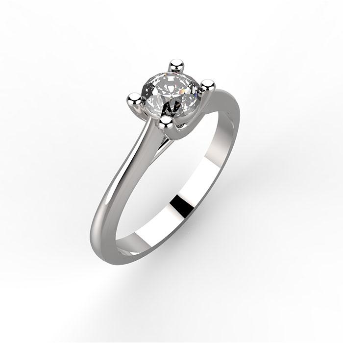 anello in platino o oro bianco con diamante centrale