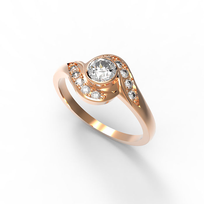 Anello in oro rosa con grande diamante al centro Tim Ring