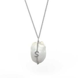 ciondolo in oro bianco o argento con perla barocca