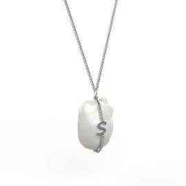 ciondolo in oro bianco o argento con perla personalizzabile