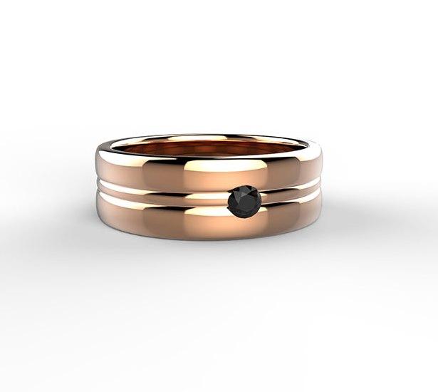 Black and White Ring in oro rosa con diamante nero