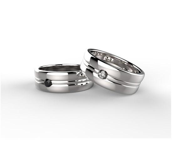 Anello in platino o oro con diamanti Black and White Ring