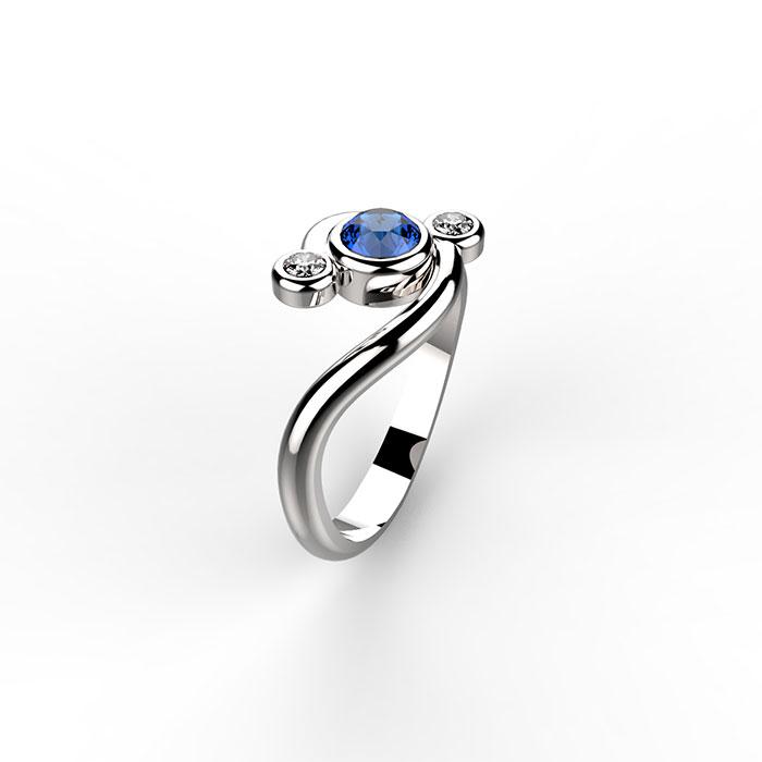 anello trilogy in platino personalizzato in oreficeria a roma